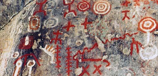 Pinturas rupestres en Villa Traful